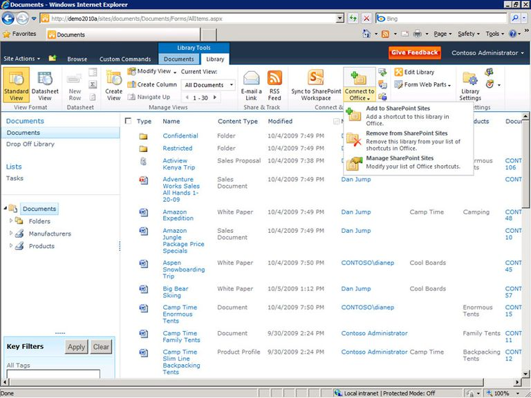 SharePoint 2010 integrates with Microsoft Office