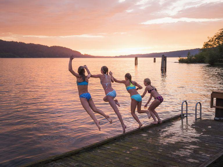 summer-sunset swim