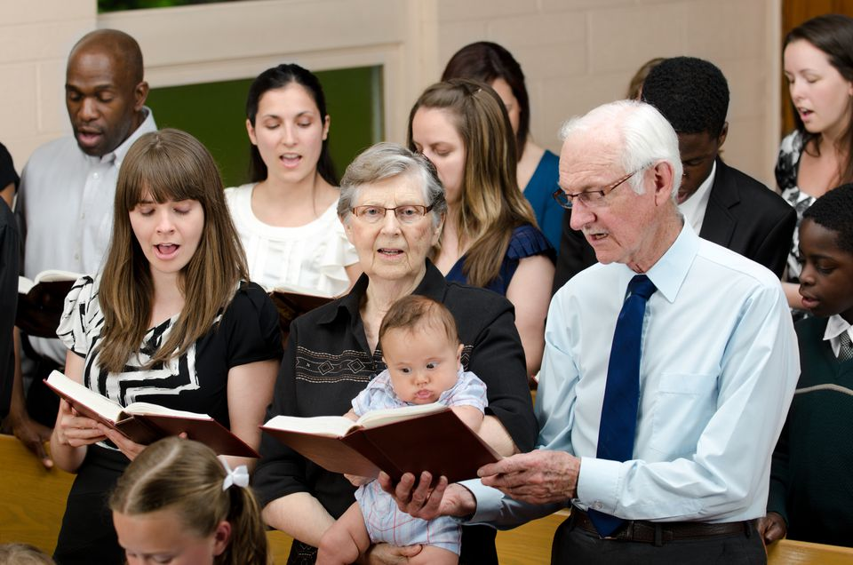 Family members in church