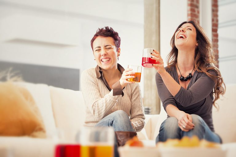 Toast between happy friends