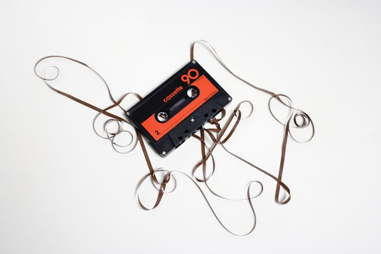 Broken audio cassette tape