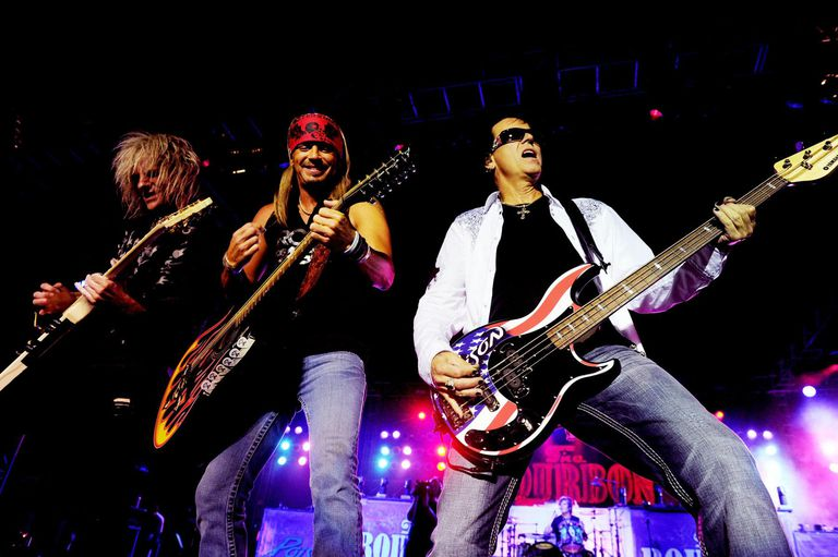 Musicians C.C. DeVille, Bret Michaels and Bobby Dall of Poison perform at the after party for the premiere of Warner Bros. Pictures' 'Rock Of Ages' at Hollywood and Highland on June 8, 2012 in Los Angeles, California.
