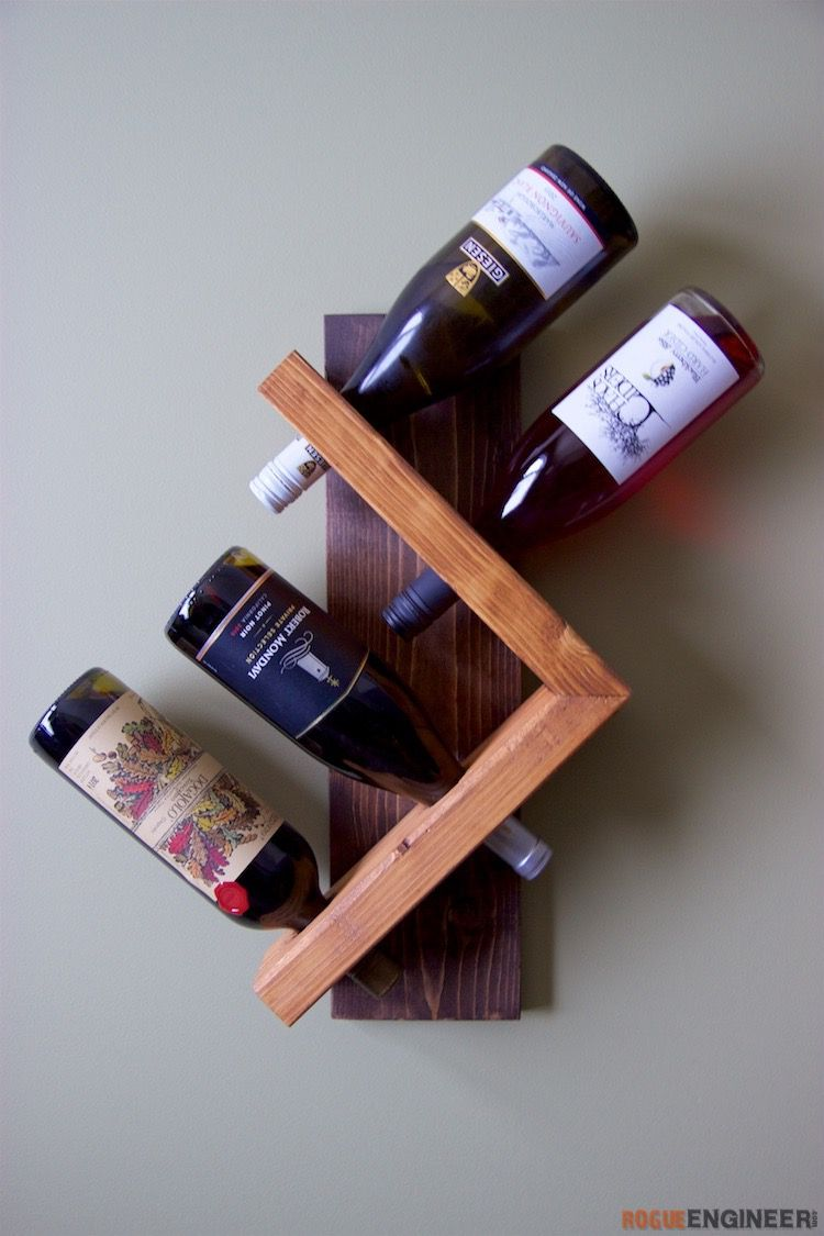 A simple DIY wine rack on the wall