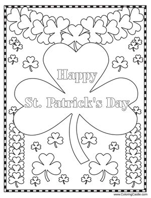 """Happy St. Patrick's Day"" with lots of four-leaf clovers to color"