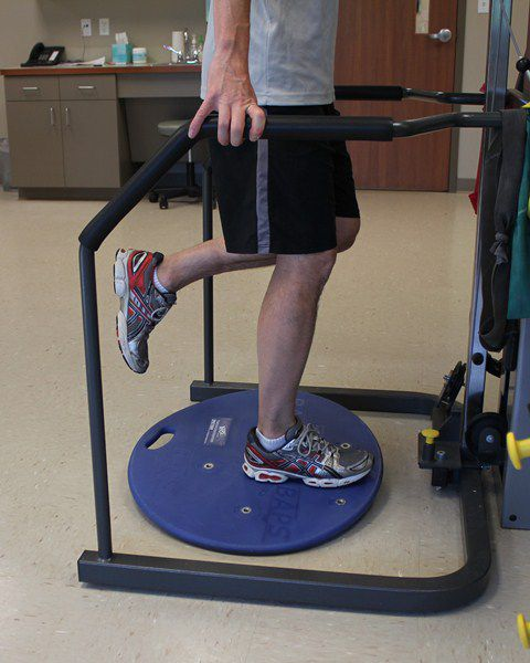 Lower extremity balance can be improved with a BAPS board.