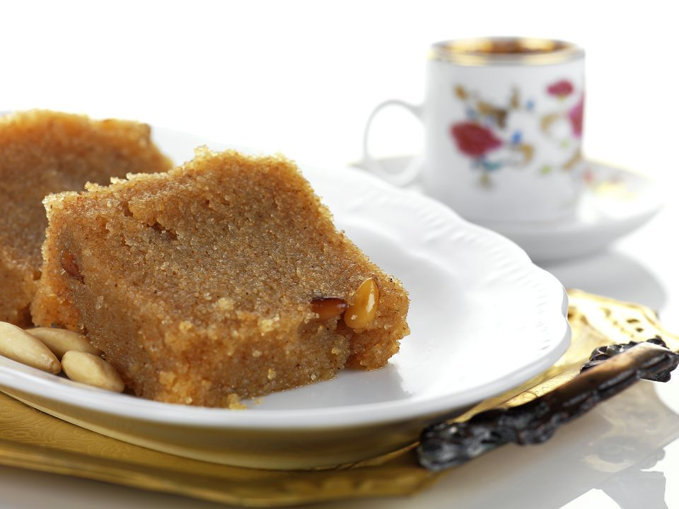 Greece, Plate of halva and coffee, close-up