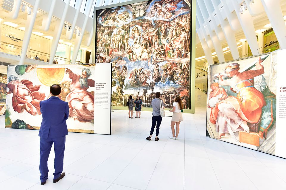A general view of atmosphere at the Michaelangelo's Sistine Chapel at Oculus Plaza.
