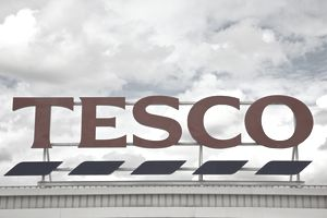 Generic image of a Tesco retail superstore sign.