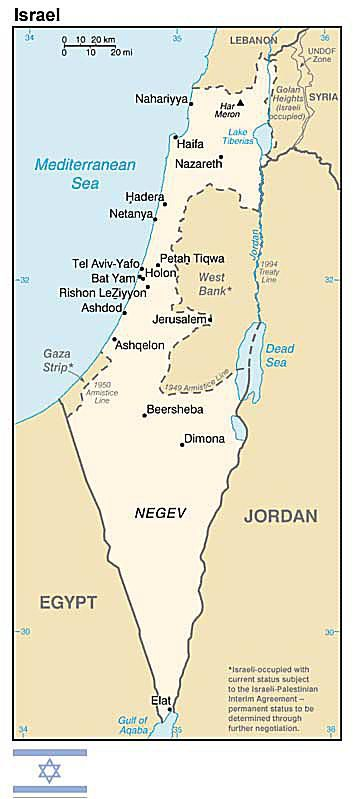 A map of Israel showing the West Bank, Gaza Strip, and Golan Heights.