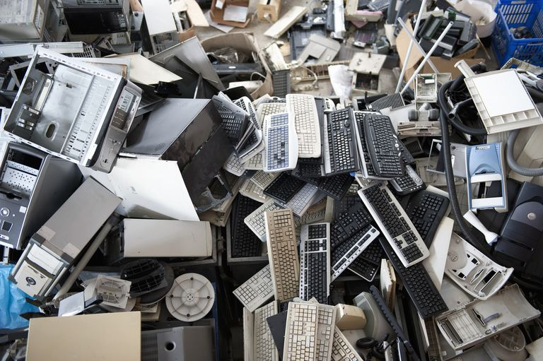 Picture of obsolete computer electronics equipment gathered for recycling