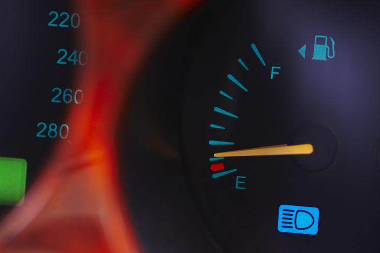 Close up of a fuel gauge