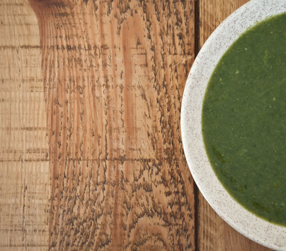 Fresh asparagus and spinach soup
