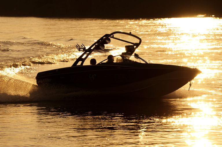 Wakeboard Boat at Sunset