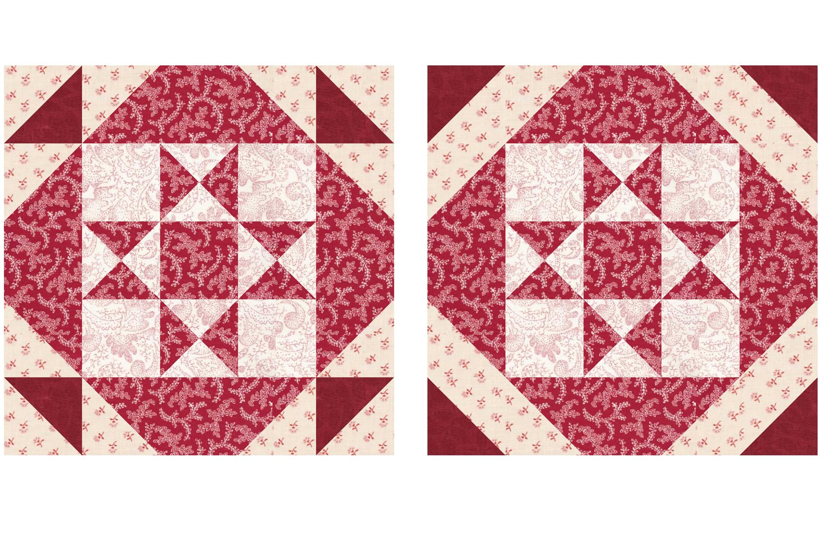Patchwork Quilt Block Pattern Square And A Half