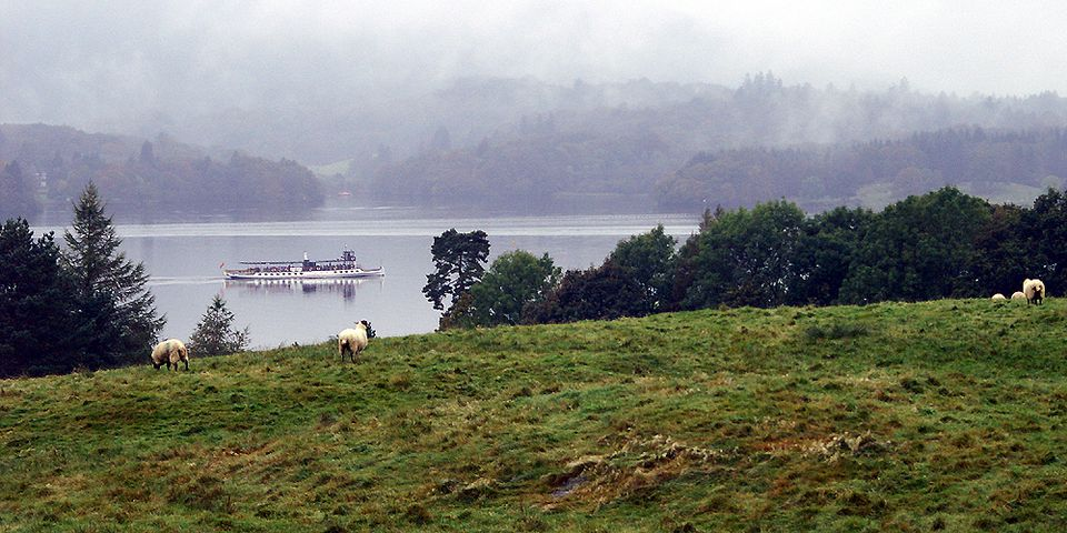 Victorian Steam Yacht on Lake Windermere in the Lake District
