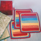 Colorful Tunisian Crochet Kitchen Set; Potholders and Dishcloth