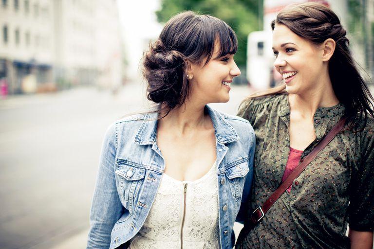 Two young women talking