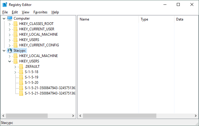 Screenshot of Registry Editor connecting to a remote registry