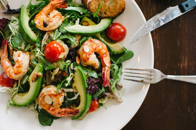 Shrimp, avocado, tomato salad