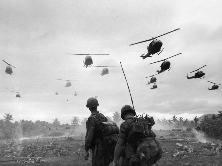 Combat helicopters arriving during the Vietnam War.
