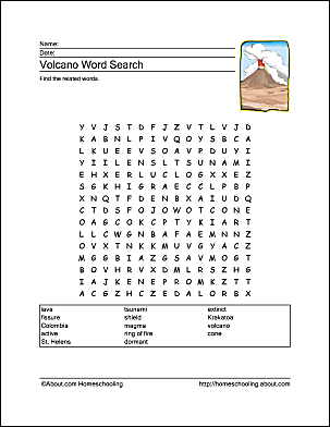 Free Printables For Volcano Lessons
