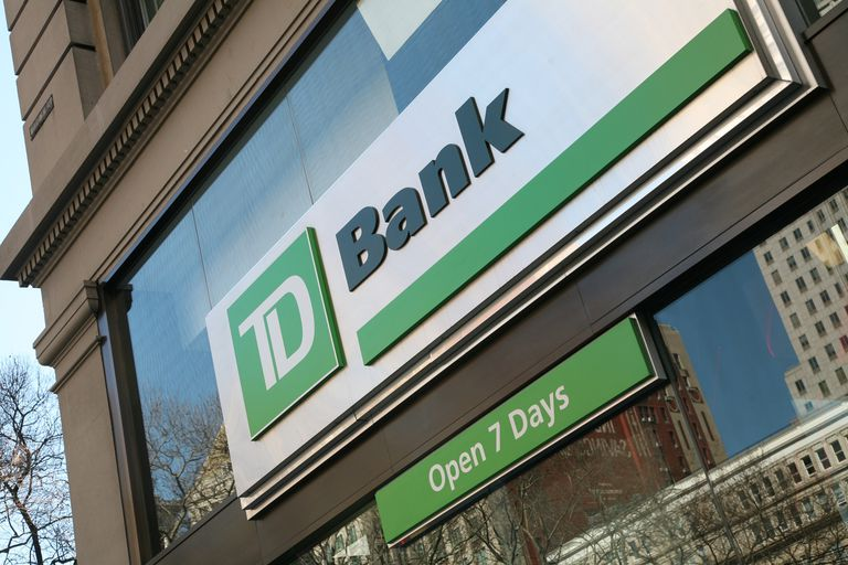 A TD Bank store front.