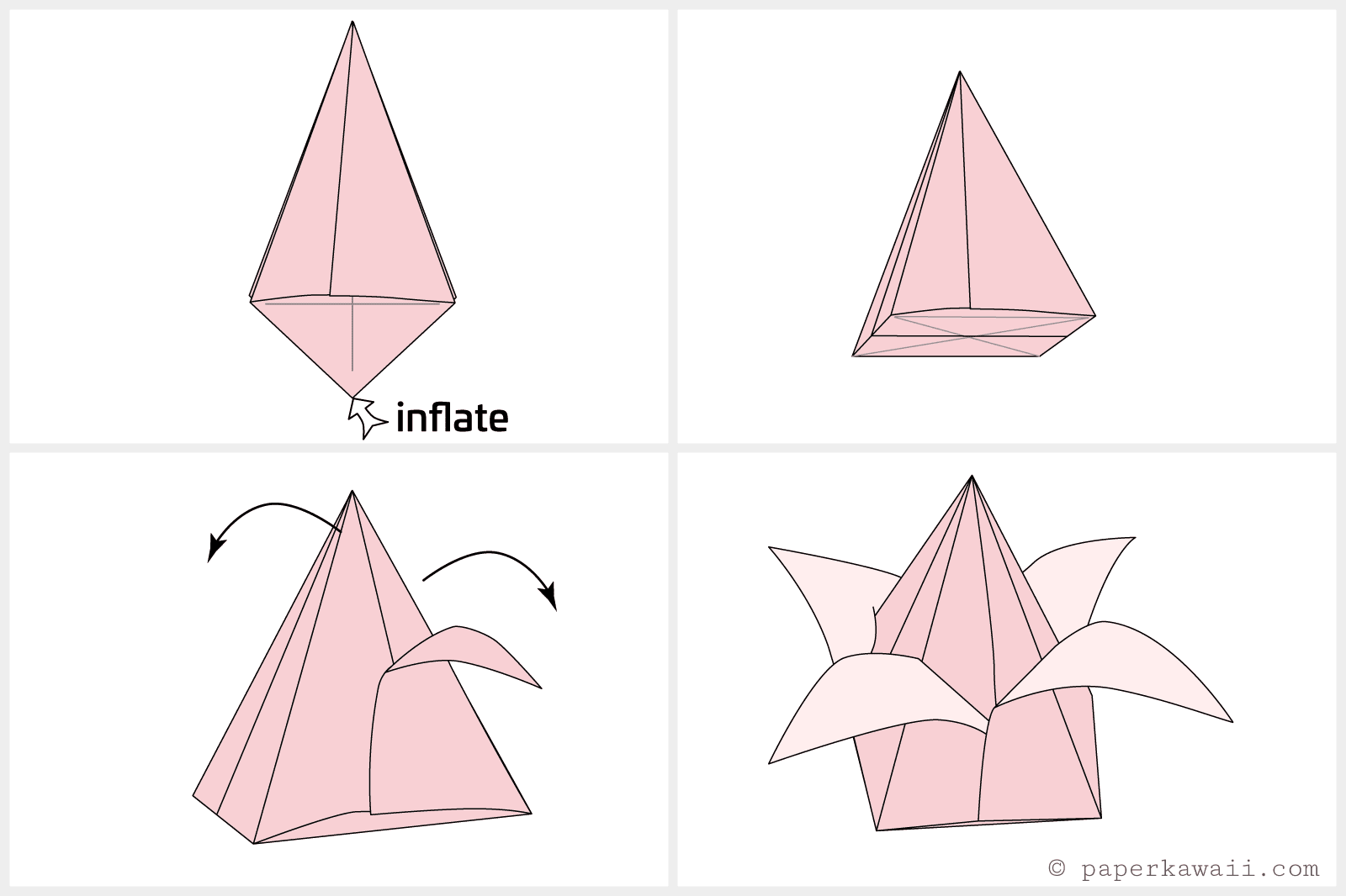How to make an origami tulip flower stem jeuxipadfo Image collections