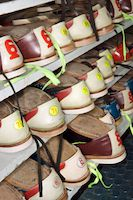 A rack of bowling shoes.