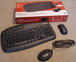 Picture of an unboxed computer keyboard and mouse
