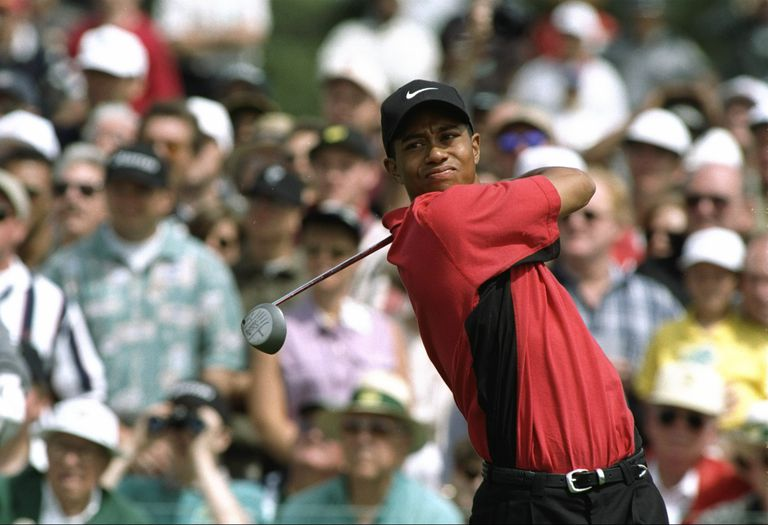Tiger Woods tees off during the final round of the 1997 Masters.