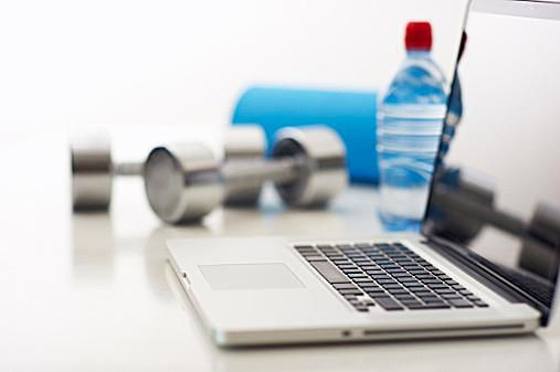 Laptop and Fitness Equipment