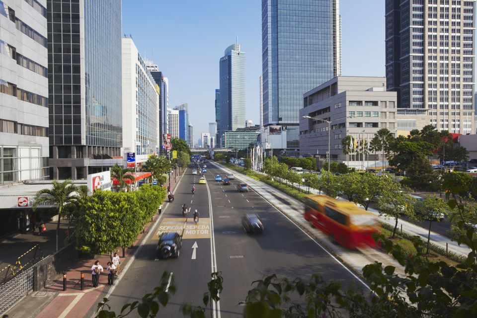Indonesia, Java, Jakarta, Traffic at Jalan Thamsin
