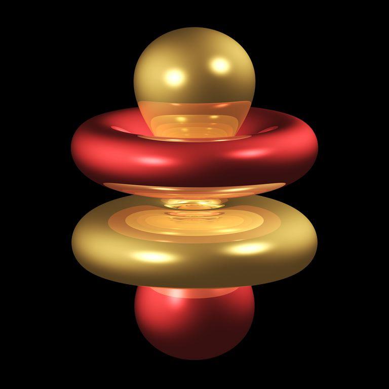 graphic representation of the 4fz3 electron orbital.