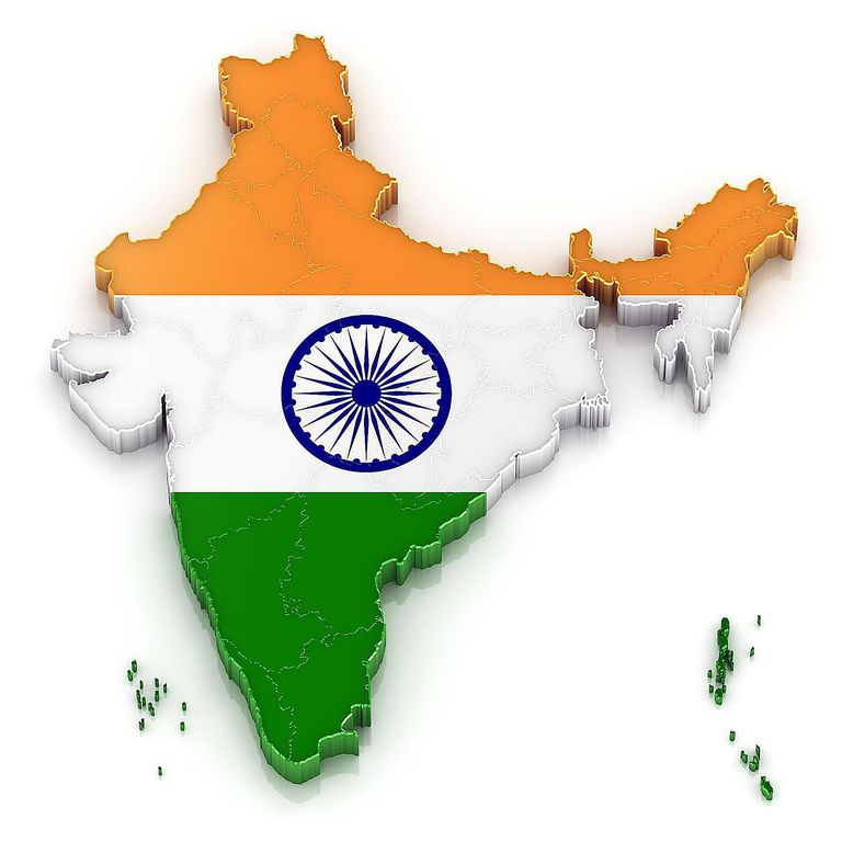 India map with flag
