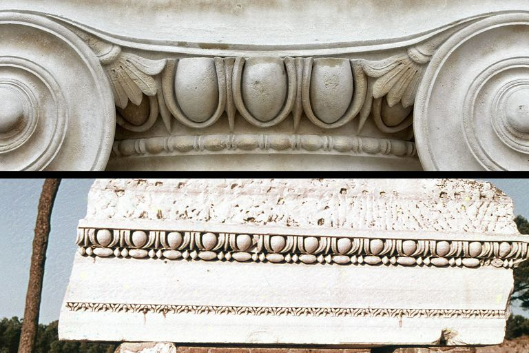 Combination Illustration of egg-and-dart patterns on an Ionic column (top) and a piece of ancient cornice (bottom)