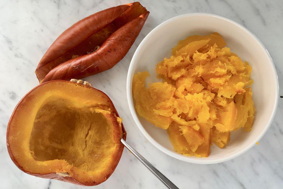 Scooping Cooked Pumpkin