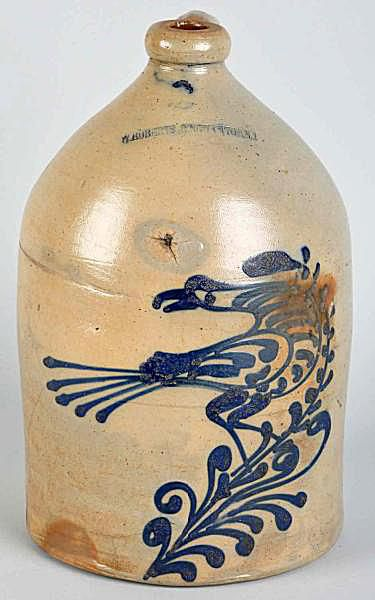 Stoneware Handled Jug with Blue Bird Decor