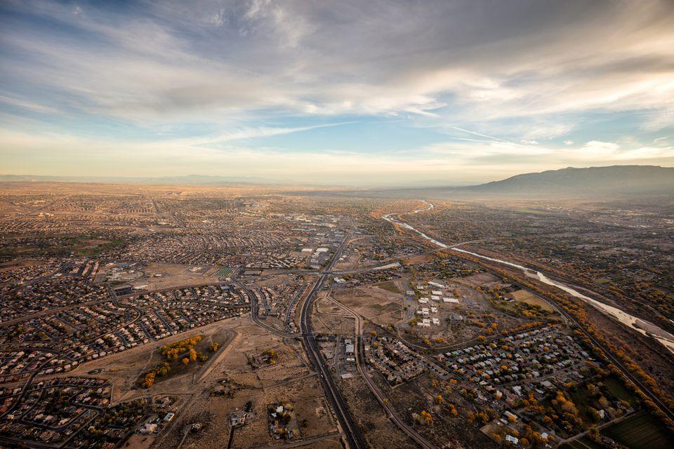 Albuquerque New Mexico, in Autumn, from a hot air balloon