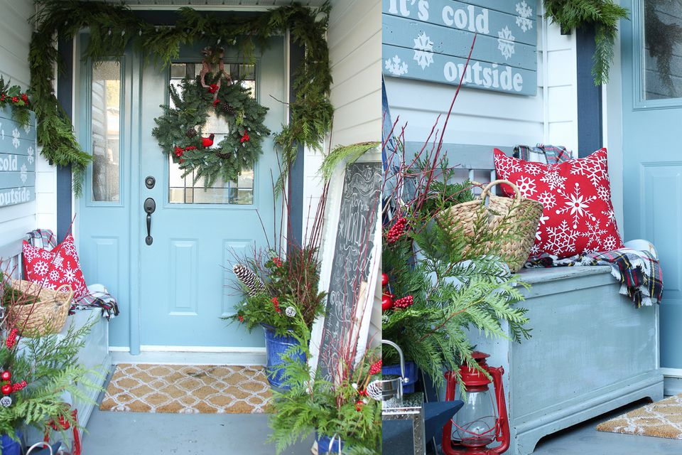Small welcoming Christmas Porch