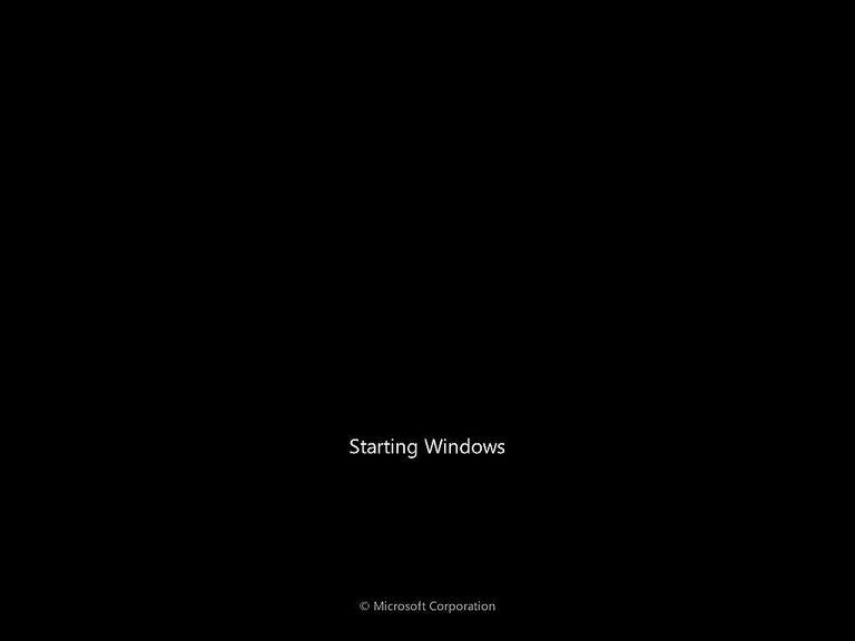 A screenshot of Windows 7 starting up