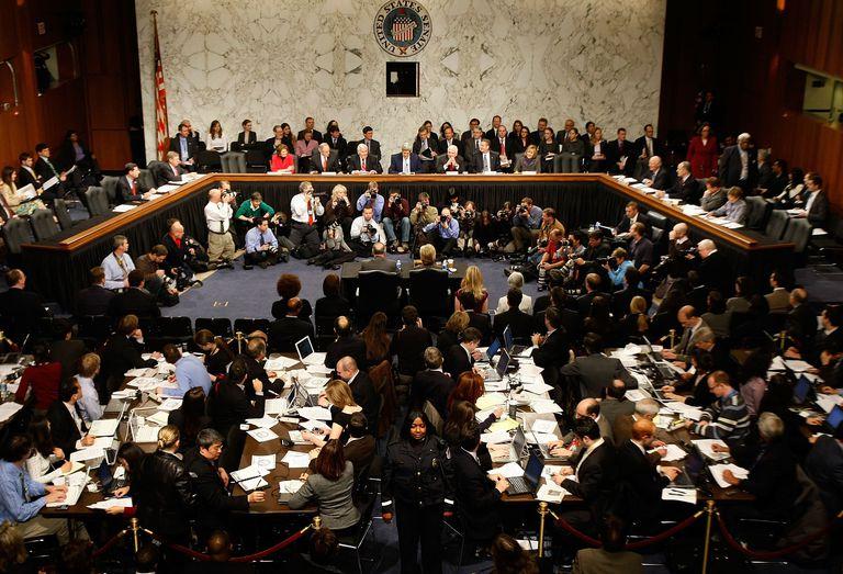 Photograph of Hillary Clinton's 2009 Senate confirmation hearing.