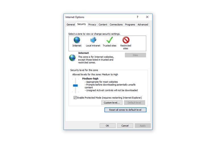 Screenshot of the security settings in Internet Explorer 11 in Windows 10