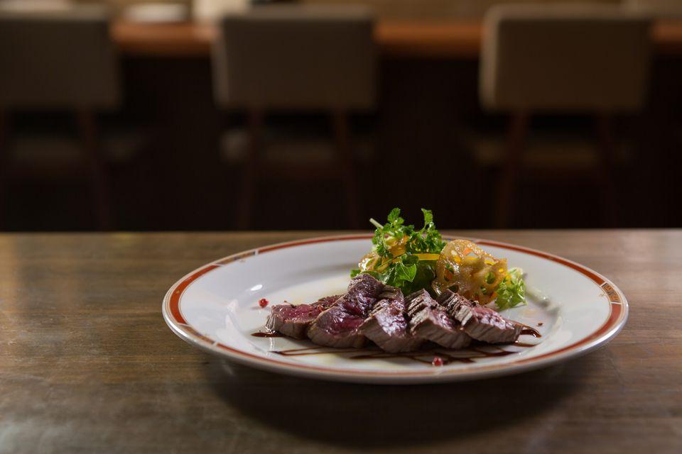 Steak dinner on a restaurant table
