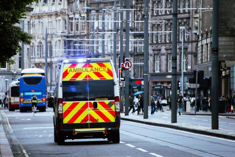 Ambulance on an avenue
