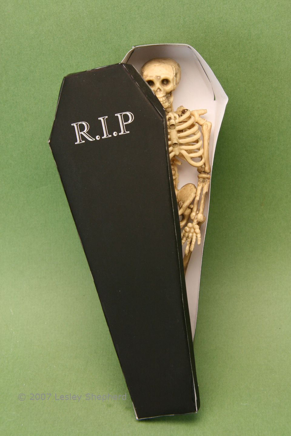 Plastic skeleton in a dollhouse scale printable coffin box