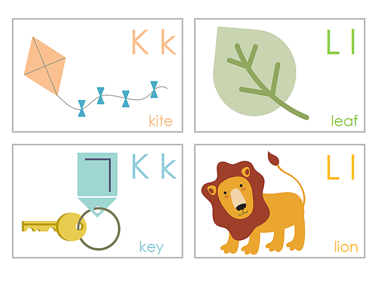 K and L alphabet flash cards.