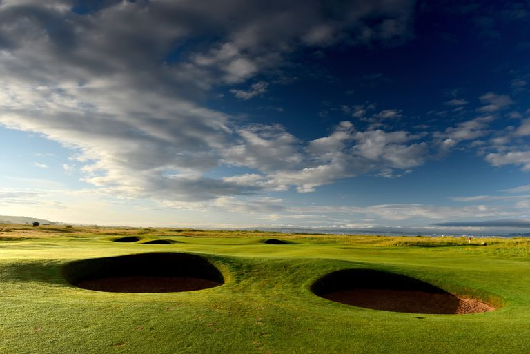 The approach to the green on the 391 yards par 4, 2nd hole Black Rock on the Old Course at Royal Troon