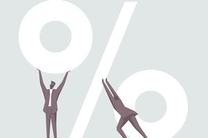 Men in suits holding up a percent sign
