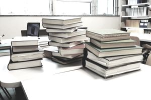 Textbooks on a tabl