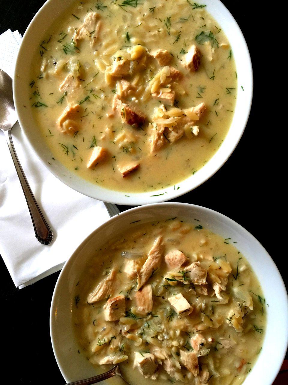 Avgolemono Soup with Peas